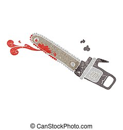 retro cartoon bloody chainsaw - freehand retro cartoon...