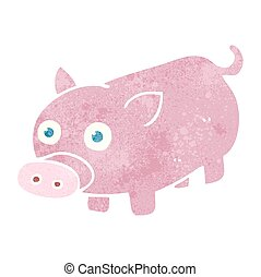 retro cartoon piglet - freehand retro cartoon piglet