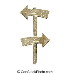 retro cartoon wooden direction sign