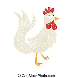 retro cartoon cock - freehand drawn retro cartoon cock