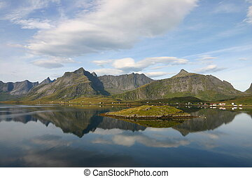 Tranquil scene and reflections in Norwegian Fjord