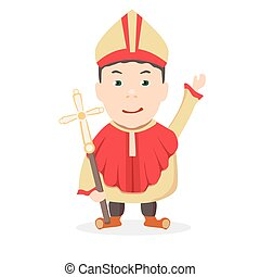 church - boy Pope on a white background