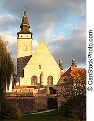 church in Telc or Teltsch town - Evening colored view of...
