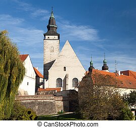 church in Telc or Teltsch town - vening colored view of...