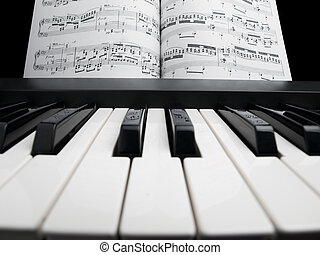 Piano with the note sheets