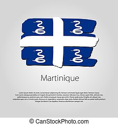 Martinique Flag with colored hand drawn lines in Vector...