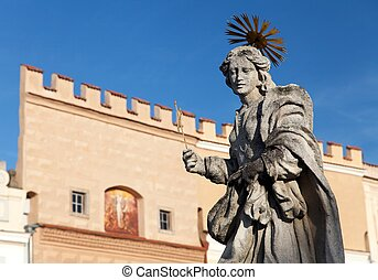 Telc or Teltsch town - statue of st Margaret - Evening view...