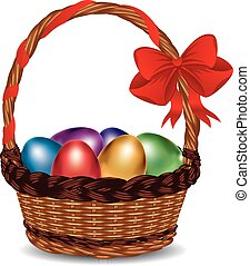 Basket with Colorful Eggs - Wicker basket with glossy Easter...
