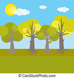 Forest theme. Various trees with various color of foliage.