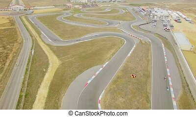 AERIAL VIEW. Racing Carts During Russian Carting...