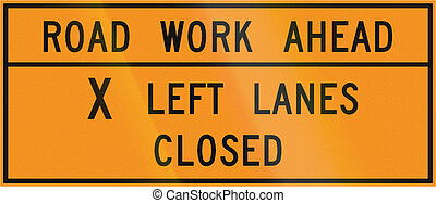 Road sign used in the US state of Virginia - Road work ahead...