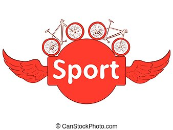 Sport and bicycles - Winged inscription sport and two red...