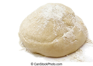 Dough - Raw fresh	yeast dough isolated on white