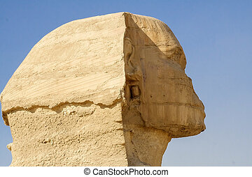 Head of the Sphinx in the historical places.