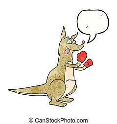 speech bubble textured cartoon boxing kangaroo - freehand...