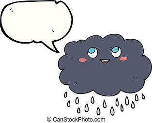 speech bubble cartoon raincloud - freehand drawn speech...