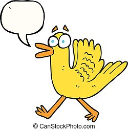 speech bubble cartoon flapping duck - freehand drawn speech...