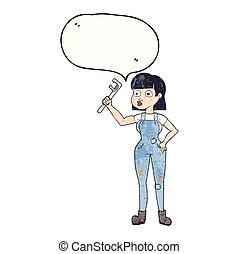 speech bubble textured cartoon female plumber - freehand...