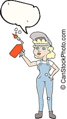 speech bubble cartoon woman welding