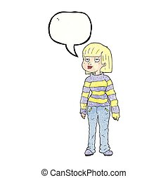 speech bubble textured cartoon woman in casual clothes -...