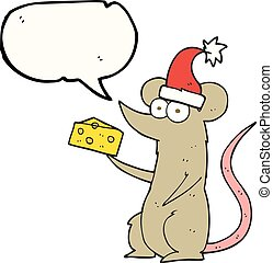 speech bubble cartoon christmas mouse with cheese - freehand...