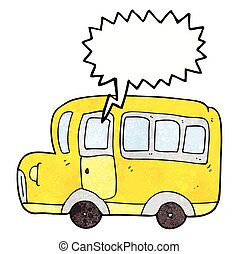 speech bubble textured cartoon yellow school bus - freehand...