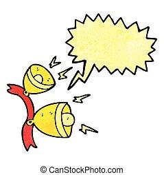 speech bubble textured cartoon jingle bells - freehand...