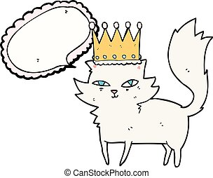speech bubble cartoon posh cat - freehand drawn speech...