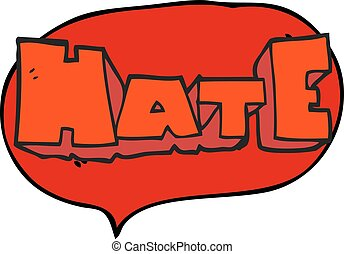 speech bubble cartoon word Hate - freehand drawn speech...
