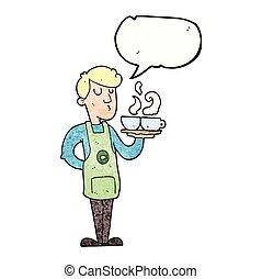 speech bubble textured cartoon barista serving coffee -...