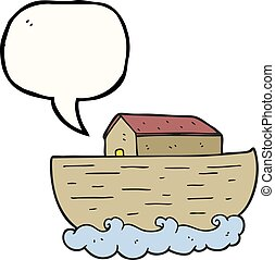 speech bubble cartoon noah's ark - freehand drawn speech...