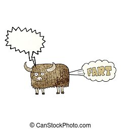 speech bubble textured cartoon hairy cow farting - freehand...