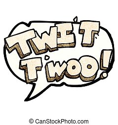 speech bubble textured cartoon twit two owl call text