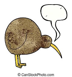 speech bubble textured cartoon kiwi bird - freehand speech...