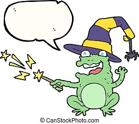 speech bubble cartoon toad casting spell - freehand drawn...