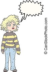speech bubble cartoon chilled out girl - freehand drawn...