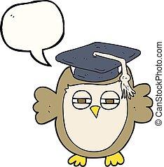 speech bubble cartoon clever owl - freehand drawn speech...
