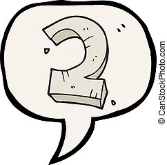 speech bubble cartoon stone number two - freehand drawn...