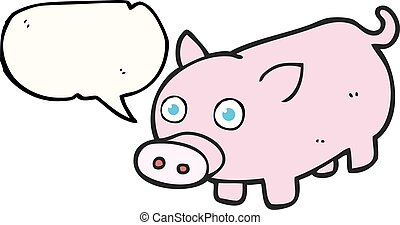 speech bubble cartoon piglet - freehand drawn speech bubble...