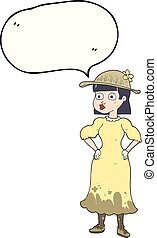 speech bubble cartoon woman in muddy dress - freehand drawn...