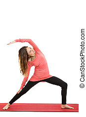 Reversed warrior Pose - Caucasian woman doing reversed...