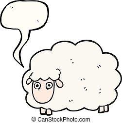 speech bubble cartoon farting sheep - freehand drawn speech...