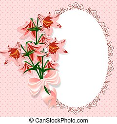 pink with flowers - Lace frame decorated with a bouquet of...