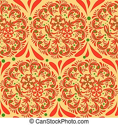 Pastiche khokhloma - The traditional Russian floral seamless...