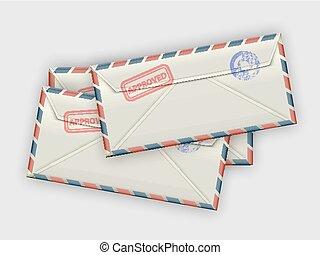 stack of envelopes - A handful of a few envelopes