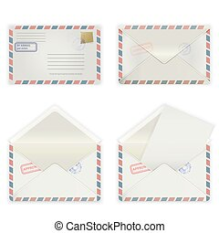 wide envelope - A set of four envelopes with stamps and...