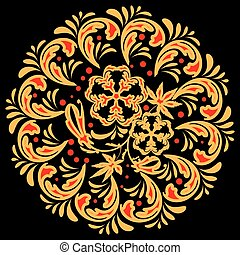 round khokhloma - The traditional Russian floral pattern...