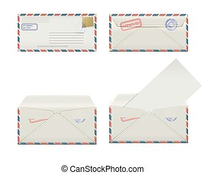 envelope fourth - Set of four narrow envelopes with stamps...