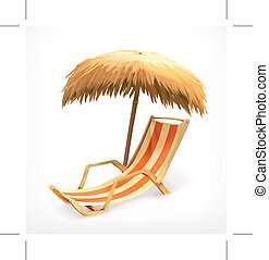 Beach umbrella and lounge chair, vector icon, isolated on...