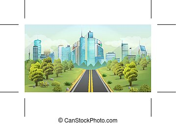 City and nature landscape